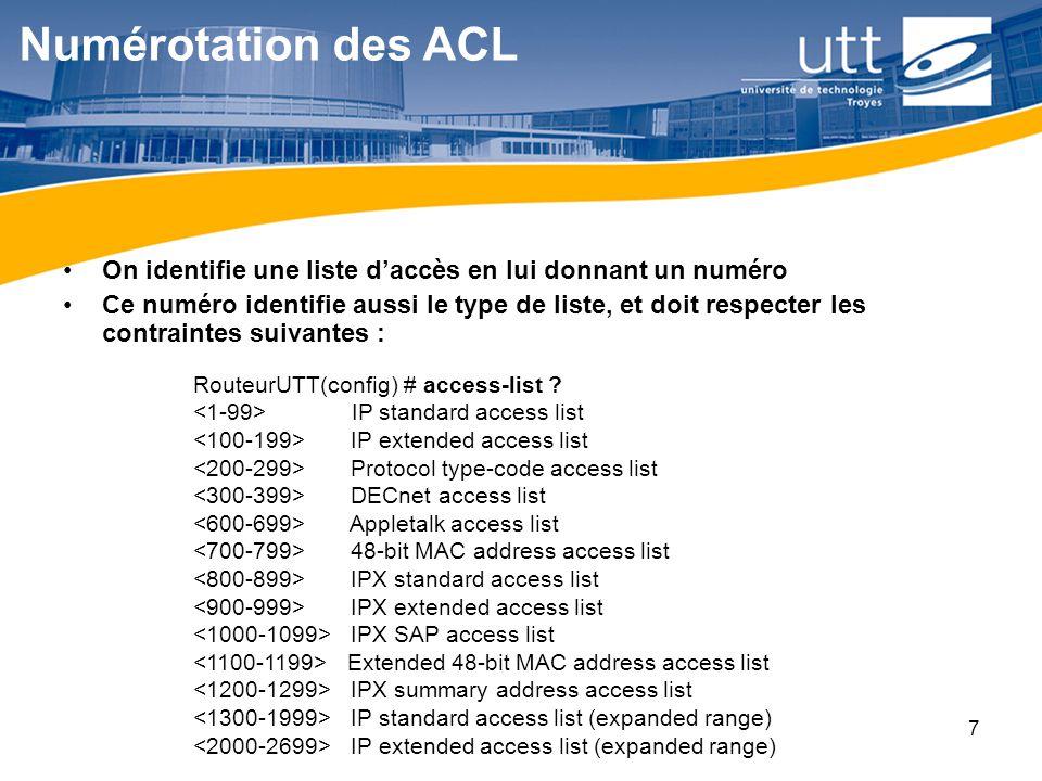 Numérotation des ACL On identifie une liste d'accès en lui donnant un numéro.