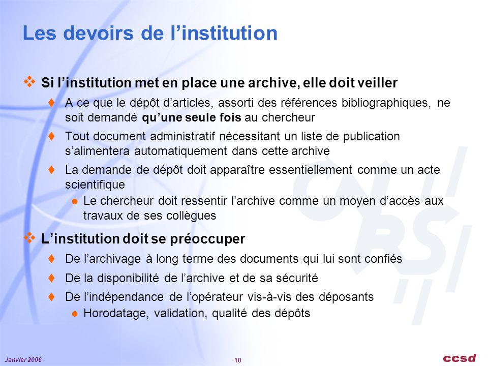 Les devoirs de l'institution