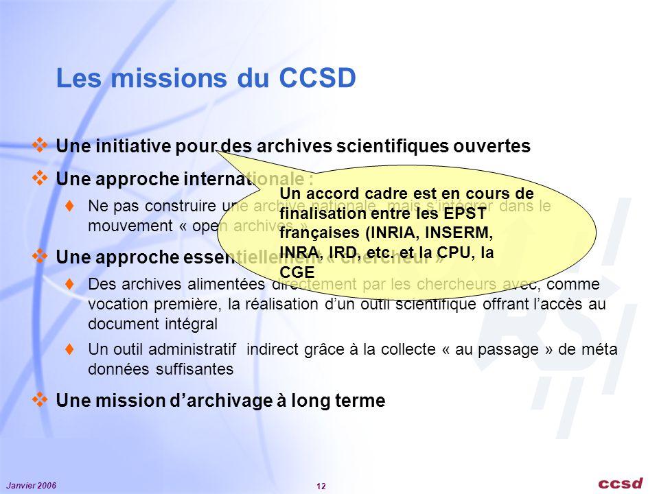 Les missions du CCSD Une initiative pour des archives scientifiques ouvertes. Une approche internationale :
