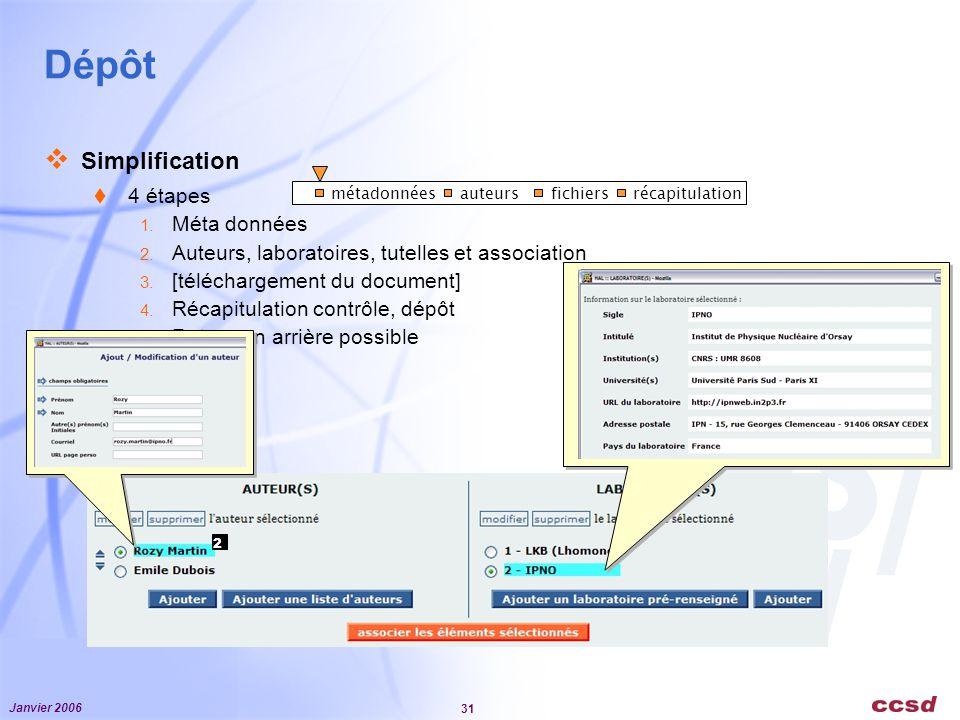 Dépôt Simplification 4 étapes Méta données