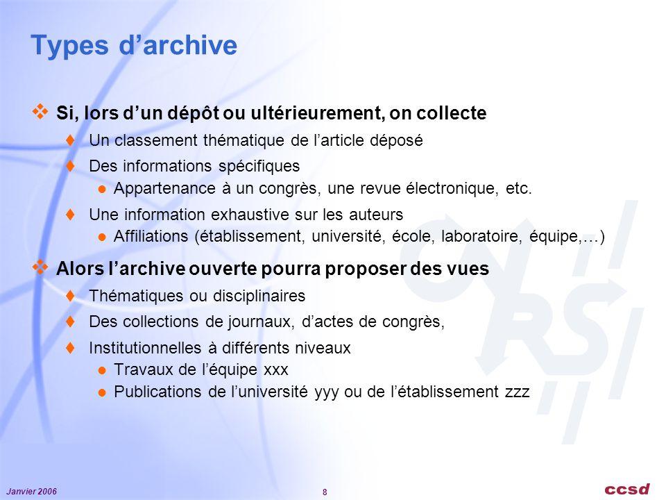 Types d'archive Si, lors d'un dépôt ou ultérieurement, on collecte