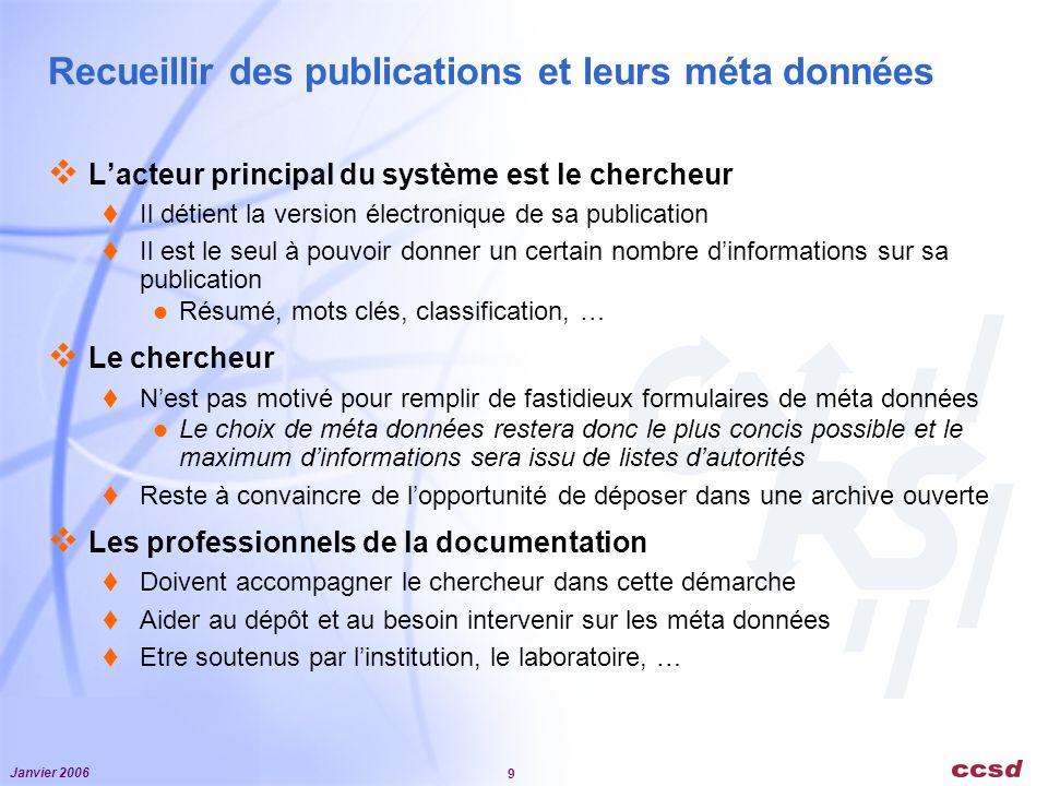 Recueillir des publications et leurs méta données
