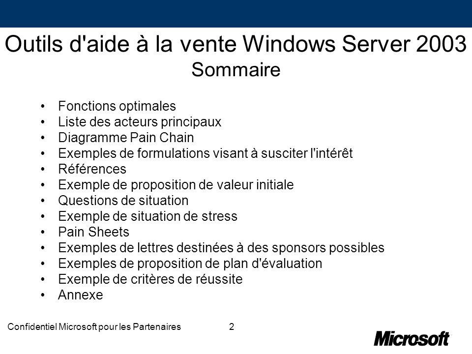 Outils d aide à la vente Windows Server 2003 Sommaire