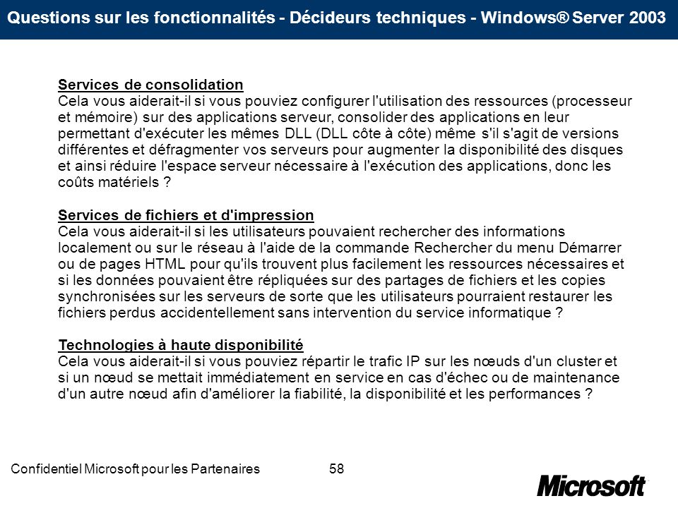 Confidentiel Microsoft pour les Partenaires