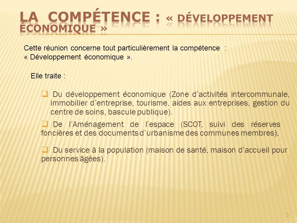 La compétence : « développement économique »