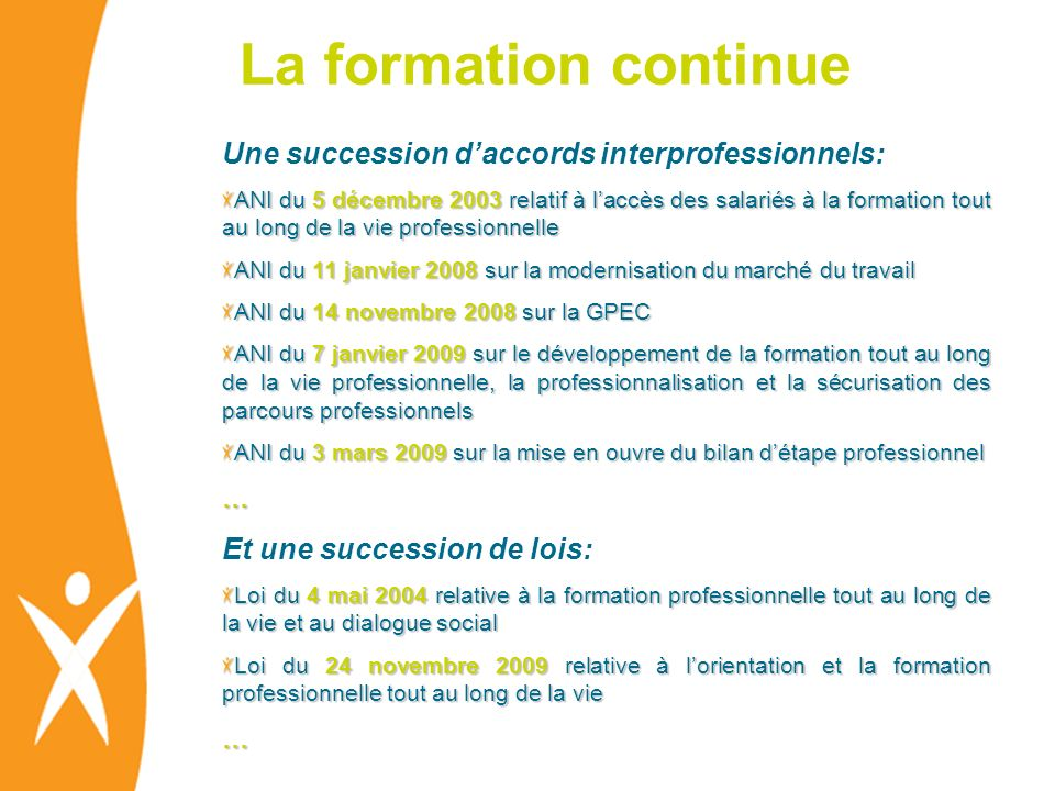 La formation continue Une succession d'accords interprofessionnels: