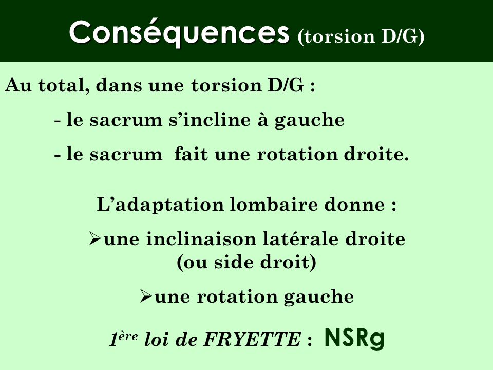 Conséquences (torsion D/G)