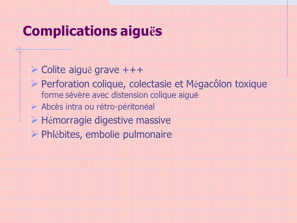 Complications aiguës Colite aiguë grave +++