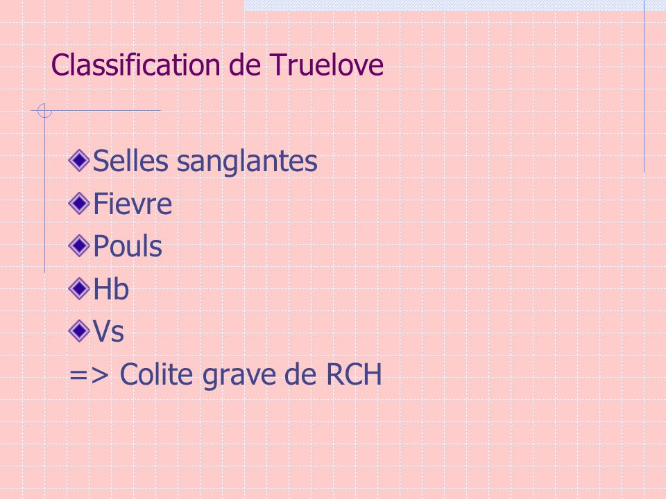 Classification de Truelove