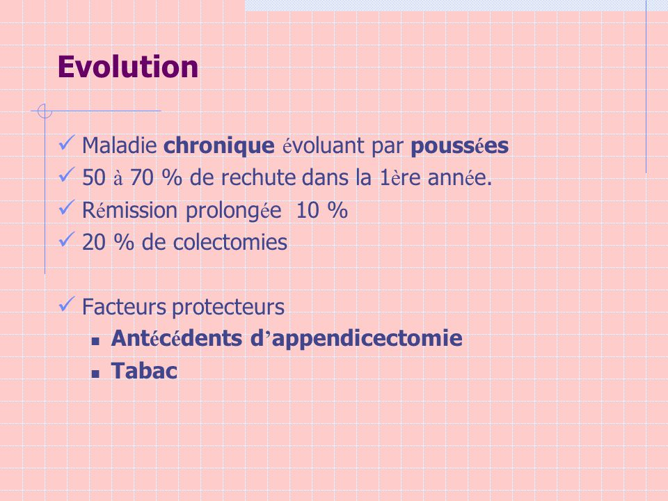 Evolution Maladie chronique évoluant par poussées