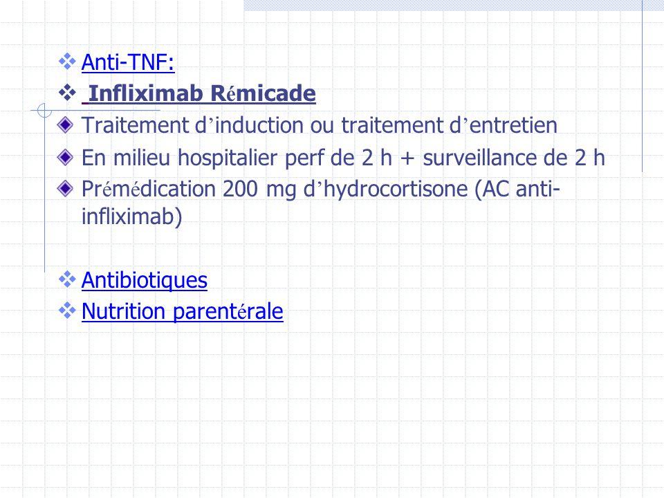 Anti-TNF: Infliximab Rémicade. Traitement d'induction ou traitement d'entretien. En milieu hospitalier perf de 2 h + surveillance de 2 h.
