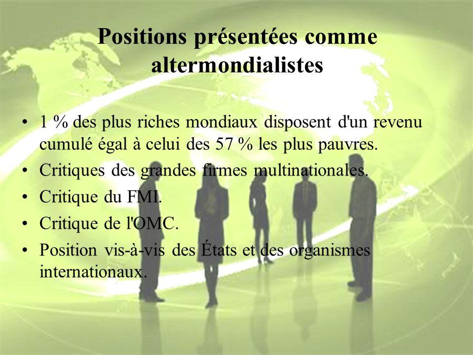 Positions présentées comme altermondialistes