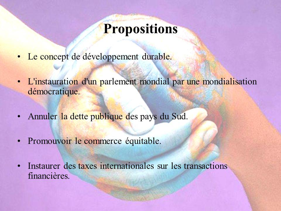 Propositions Le concept de développement durable.