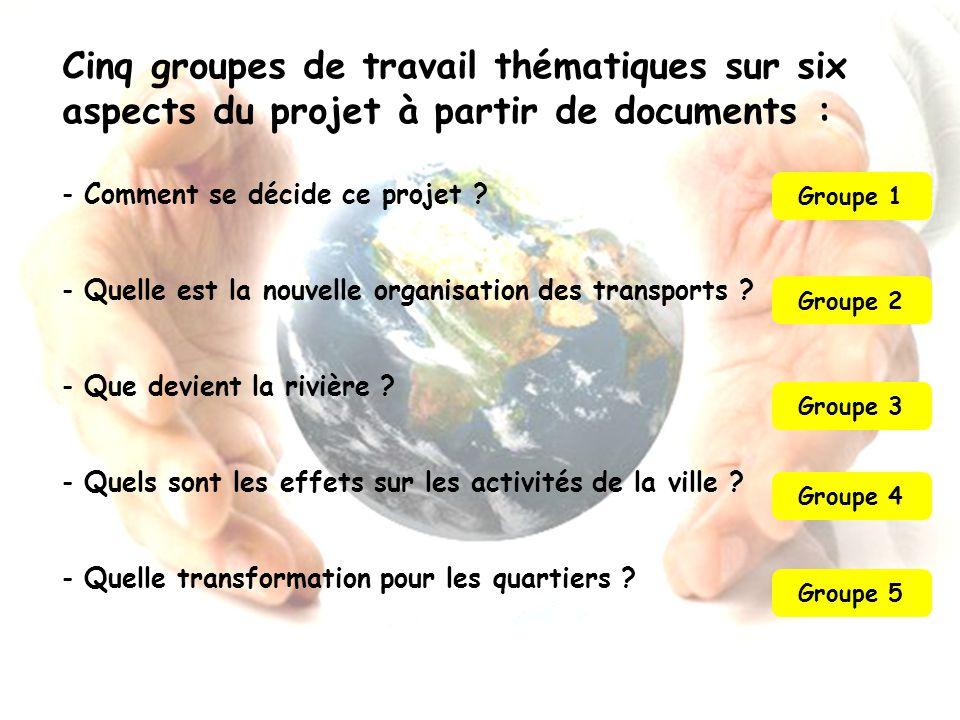Cinq groupes de travail thématiques sur six aspects du projet à partir de documents :