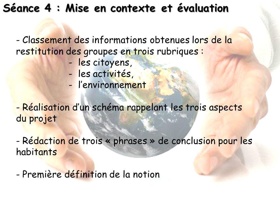 Séance 4 : Mise en contexte et évaluation