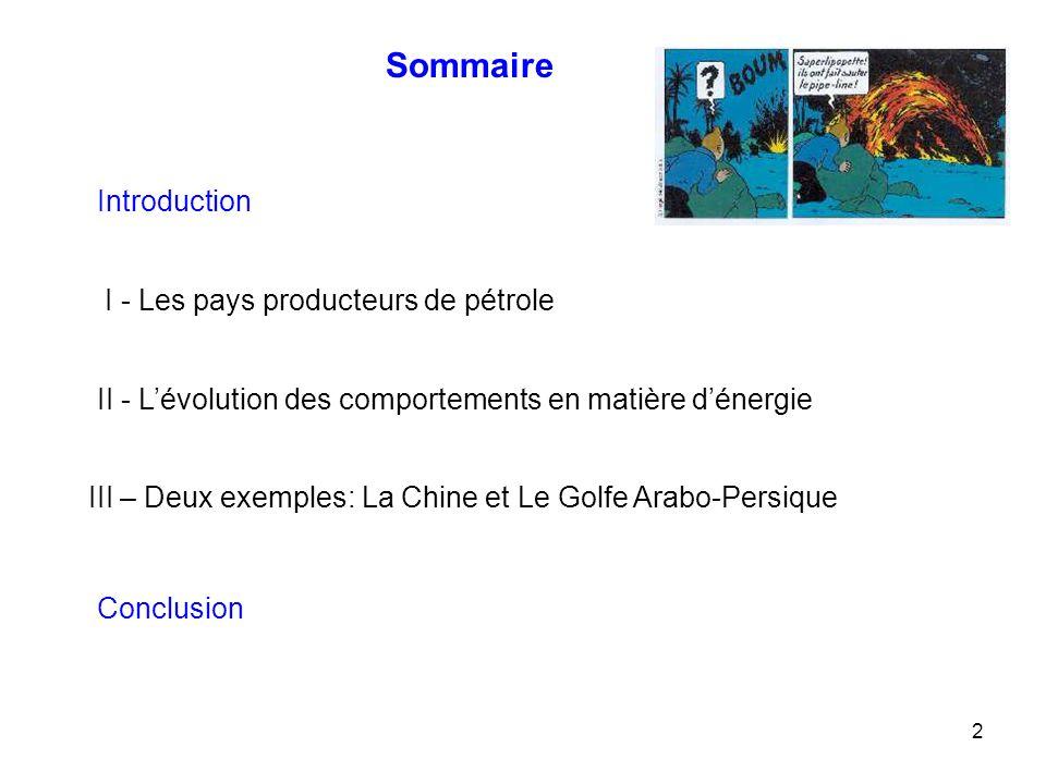 Sommaire Introduction I - Les pays producteurs de pétrole