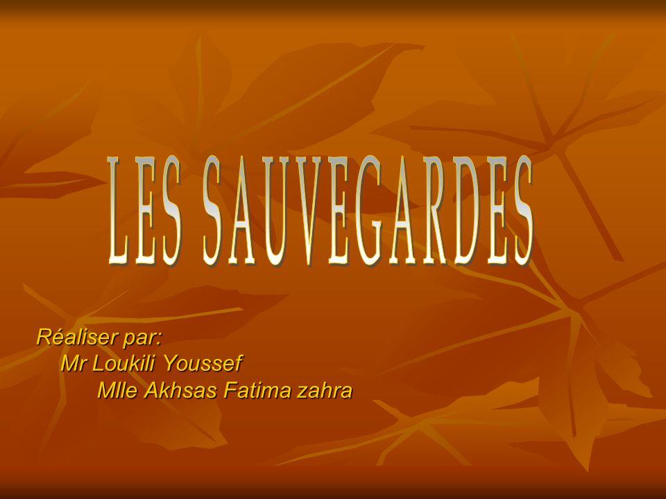 LES SAUVEGARDES Réaliser par: Mr Loukili Youssef