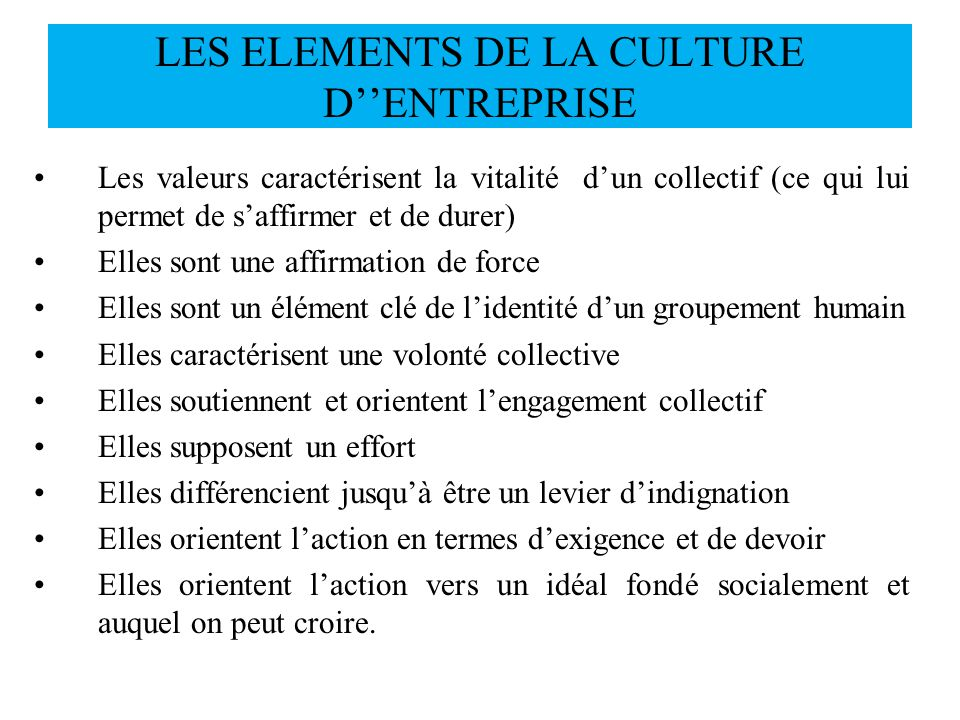 LES ELEMENTS DE LA CULTURE D''ENTREPRISE