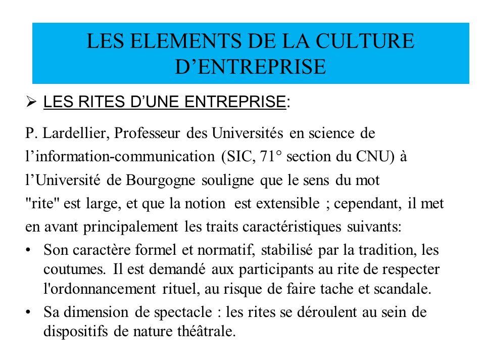 LES ELEMENTS DE LA CULTURE D'ENTREPRISE
