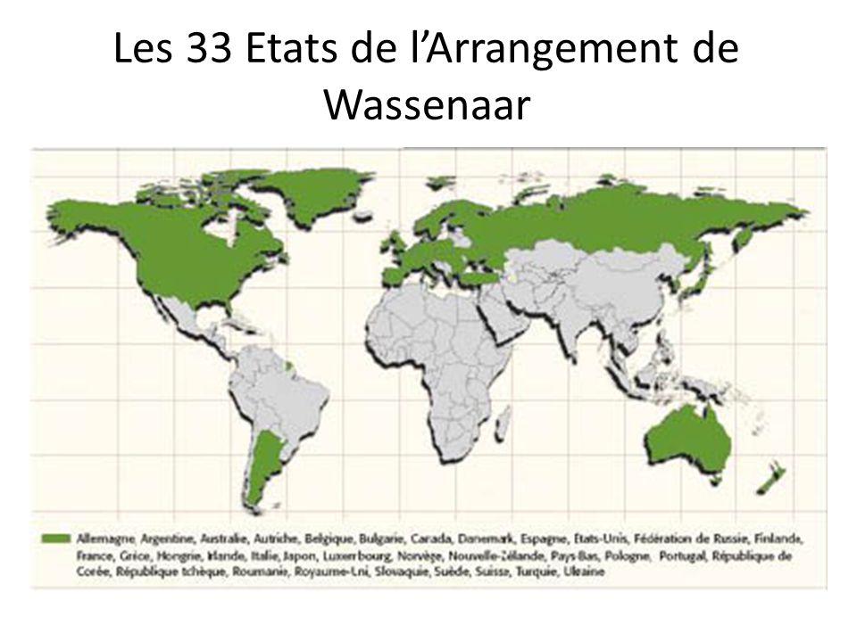 Les 33 Etats de l'Arrangement de Wassenaar