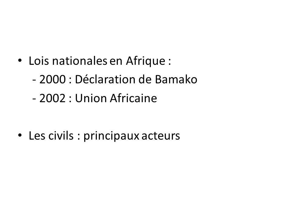 Lois nationales en Afrique :