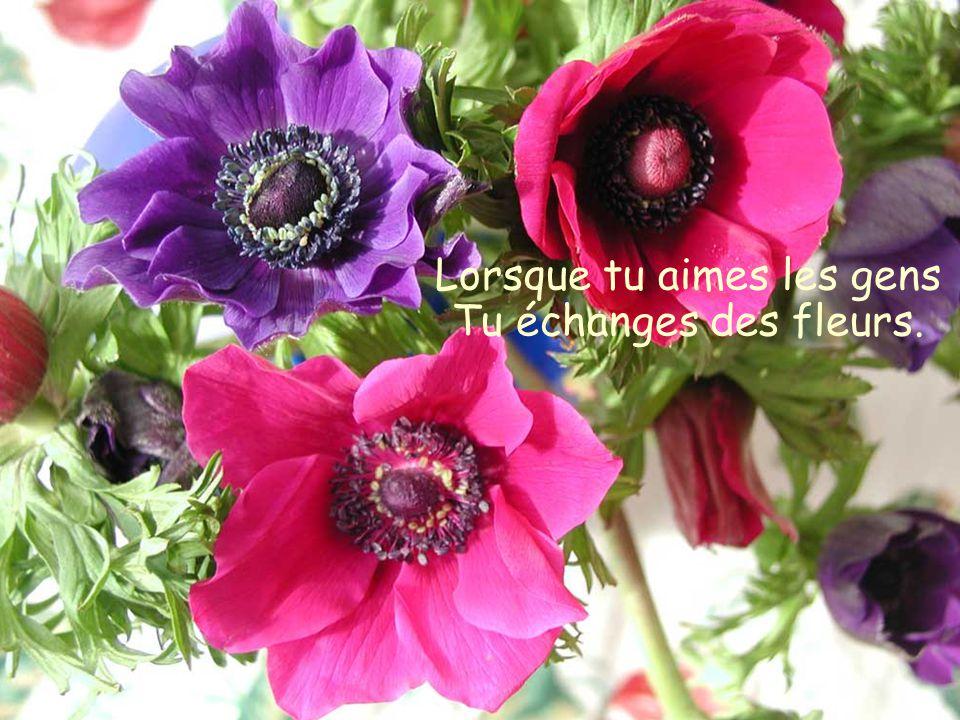 Lorsque tu aimes les gens Tu échanges des fleurs.