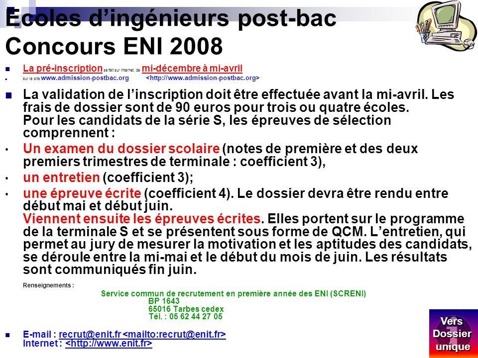Ecoles d'ingénieurs post-bac Concours ENI 2008