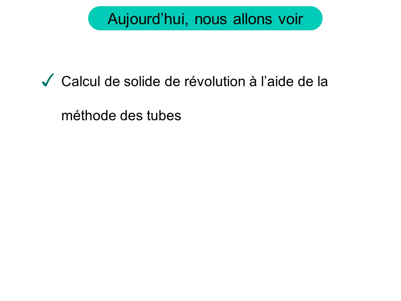 Calcul de solide de révolution à l'aide de la méthode des tubes