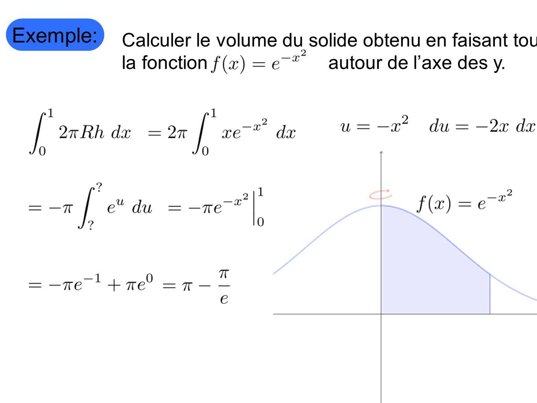 Exemple: Calculer le volume du solide obtenu en faisant tourner