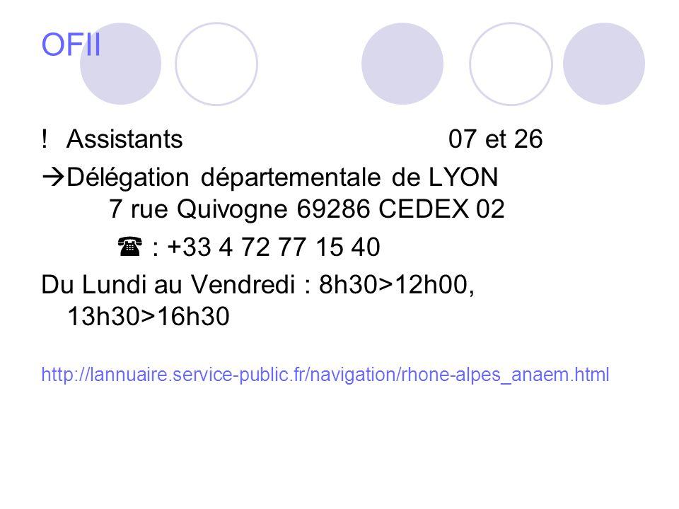 OFII ! Assistants 07 et 26. Délégation départementale de LYON 7 rue Quivogne 69286 CEDEX 02.