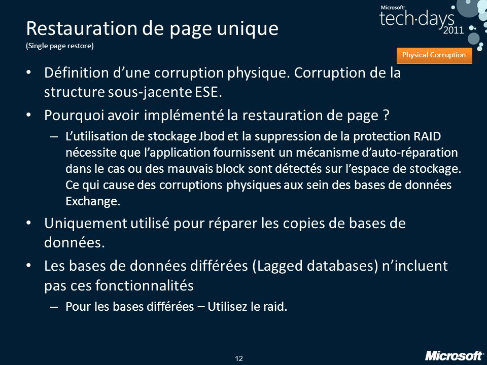 Restauration de page unique (Single page restore)