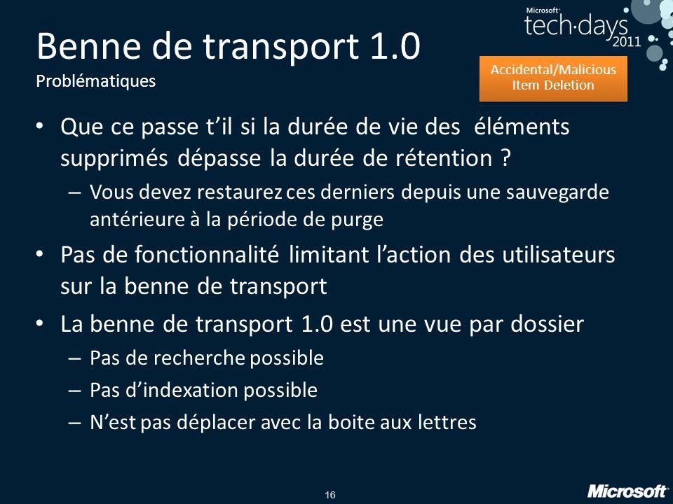 Benne de transport 1.0 Problématiques