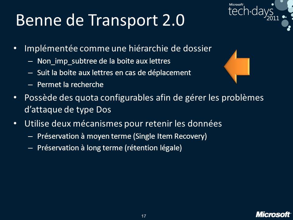 Benne de Transport 2.0 Implémentée comme une hiérarchie de dossier