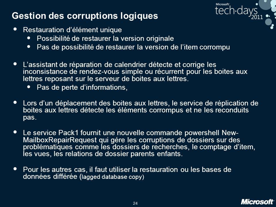 Gestion des corruptions logiques