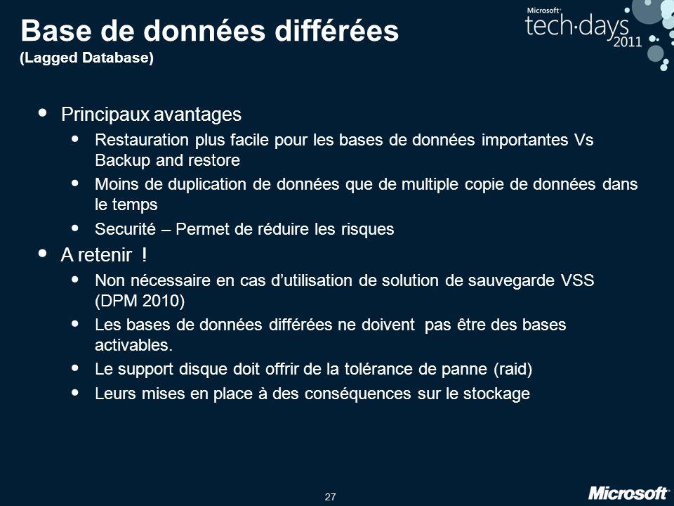 Base de données différées (Lagged Database)