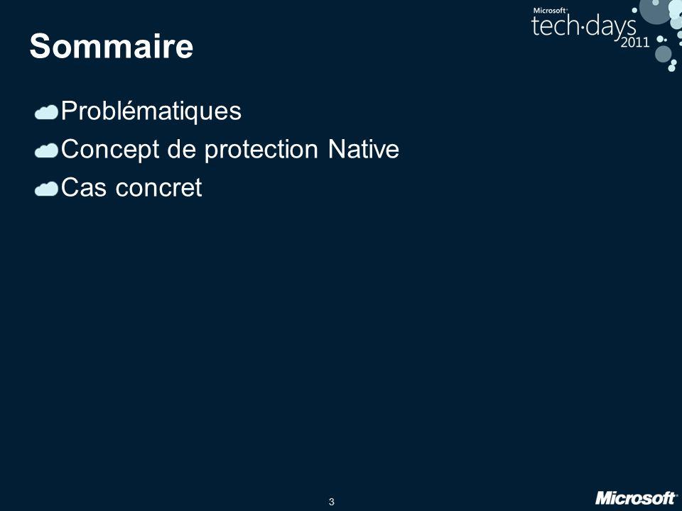Sommaire Problématiques Concept de protection Native Cas concret