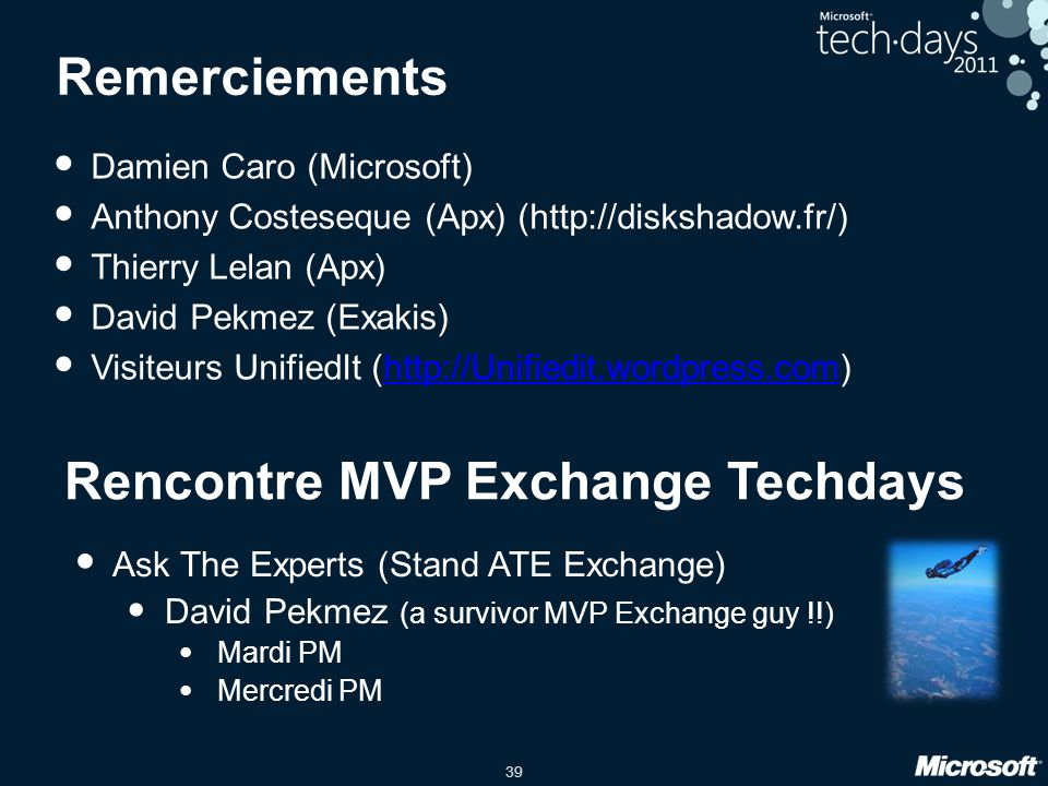 Rencontre MVP Exchange Techdays