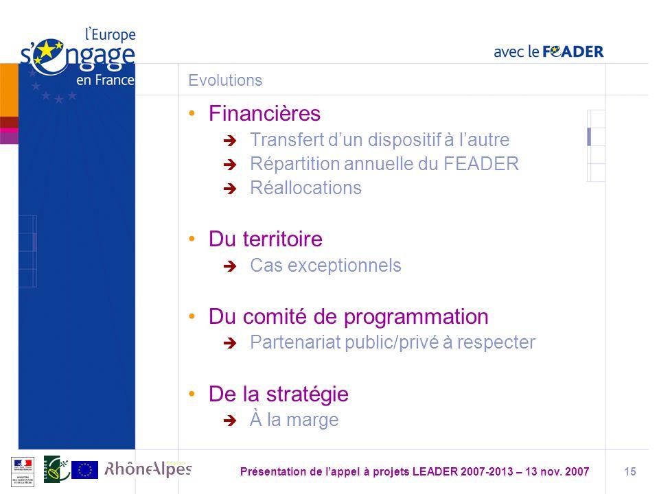 Présentation de l'appel à projets LEADER 2007-2013 – 13 nov. 2007