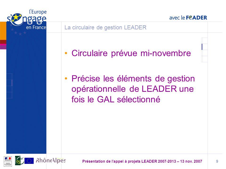 La circulaire de gestion LEADER
