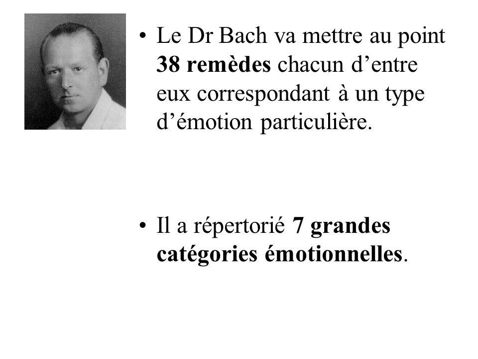 Le Dr Bach va mettre au point 38 remèdes chacun d'entre eux correspondant à un type d'émotion particulière.