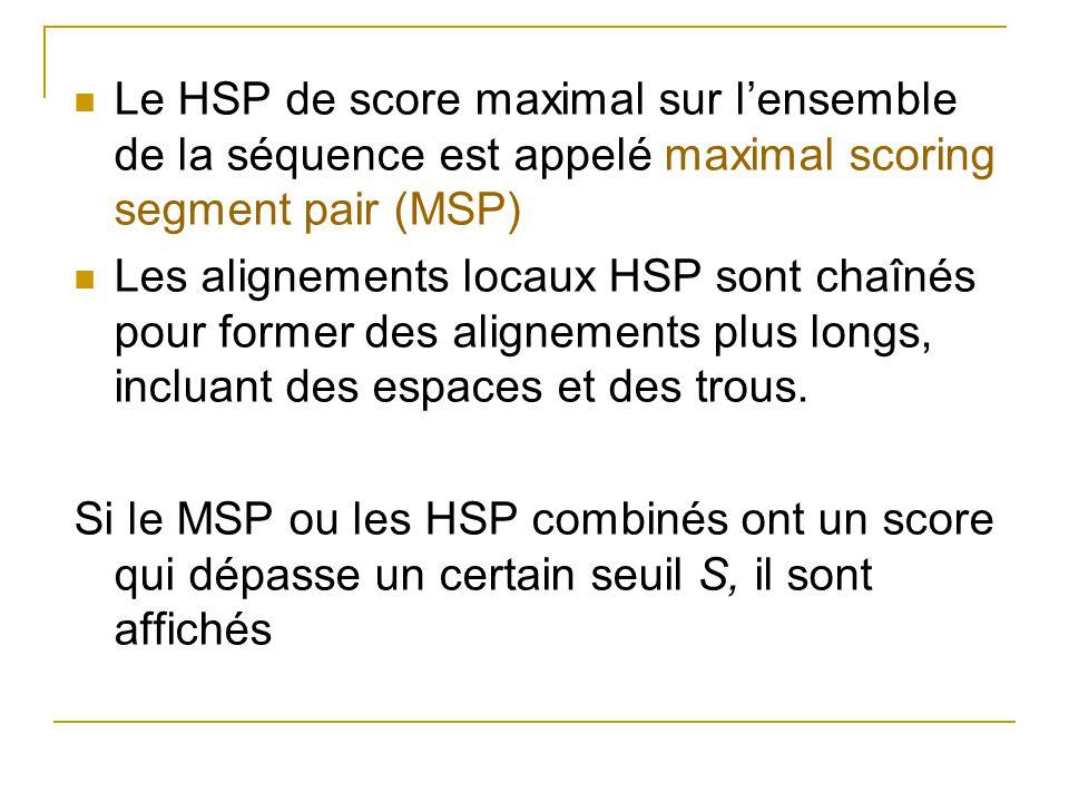 Le HSP de score maximal sur l'ensemble de la séquence est appelé maximal scoring segment pair (MSP)