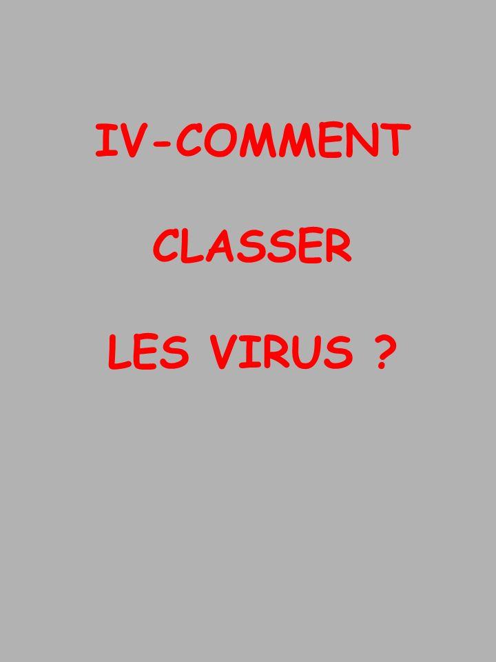 IV-COMMENT CLASSER LES VIRUS