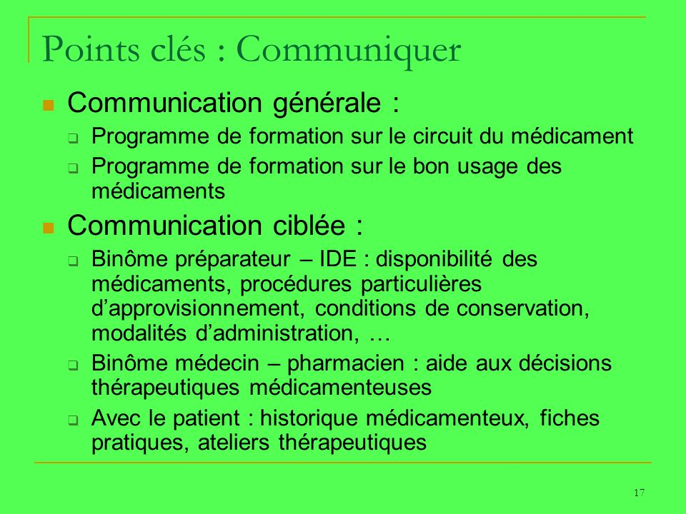 Points clés : Communiquer