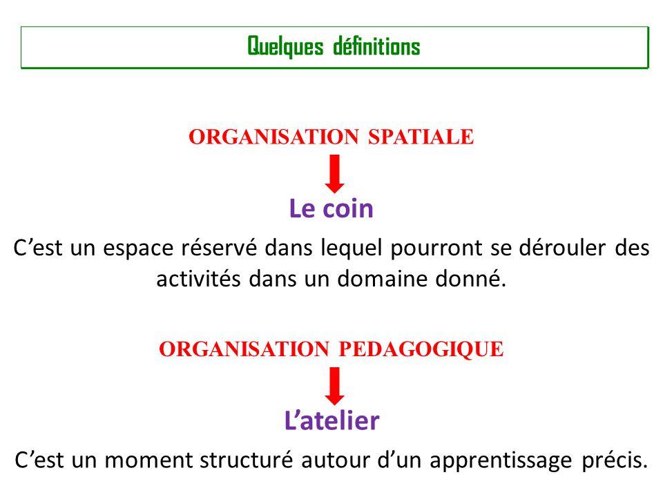 ORGANISATION SPATIALE ORGANISATION PEDAGOGIQUE