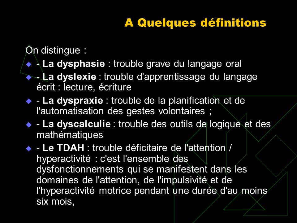 A Quelques définitions