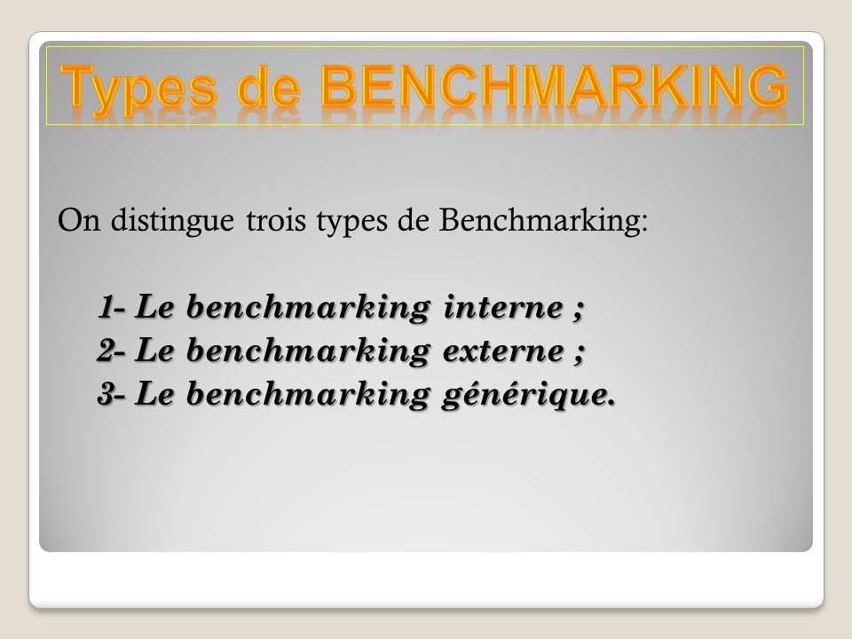 Types de BENCHMARKING
