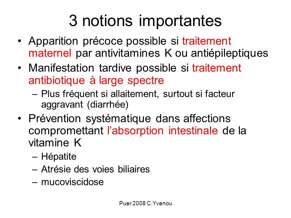 3 notions importantesApparition précoce possible si traitement maternel par antivitamines K ou antiépileptiques.