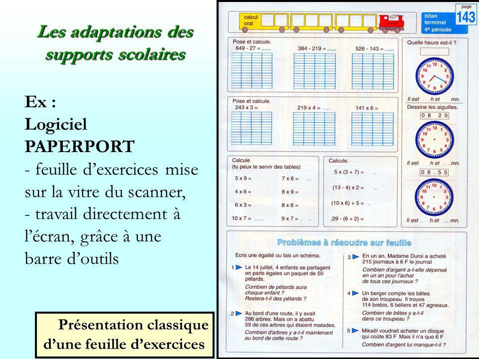 Les adaptations des supports scolaires