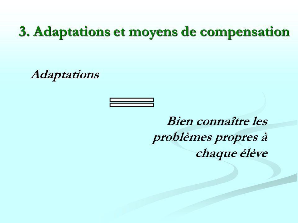 3. Adaptations et moyens de compensation
