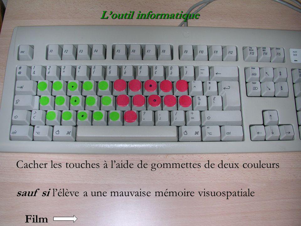 L'outil informatique Cacher les touches à l'aide de gommettes de deux couleurs. sauf si l'élève a une mauvaise mémoire visuospatiale.